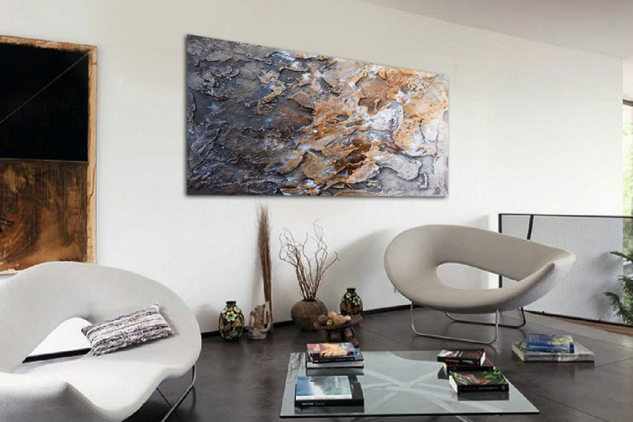 Abstract modern paintings in relief